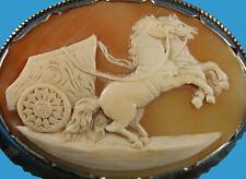 Große Muschel-Kamee als Schreibtisch-Dekoration Silber und Granit um 1900