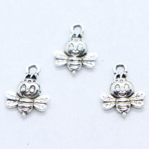 16//48pcs Tibetan Silver petite abeille Charms Pendentifs 12x16mm Jewelry Making