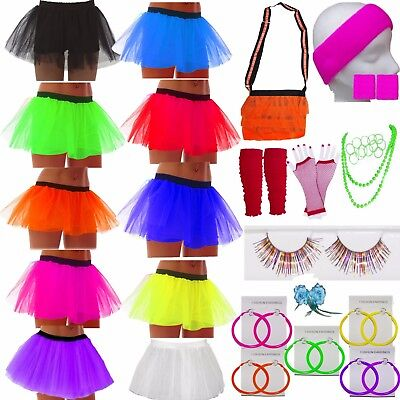 Neon Purple Black Tutu Skirt Legwarmers Gloves 80/'s Fancy Dress Party Costume