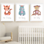 Safari-Jungle-Animals-Nursery-Prints-Set-Baby-Kids-Room-Pictures-Wall-Art-Decor miniatuur 7