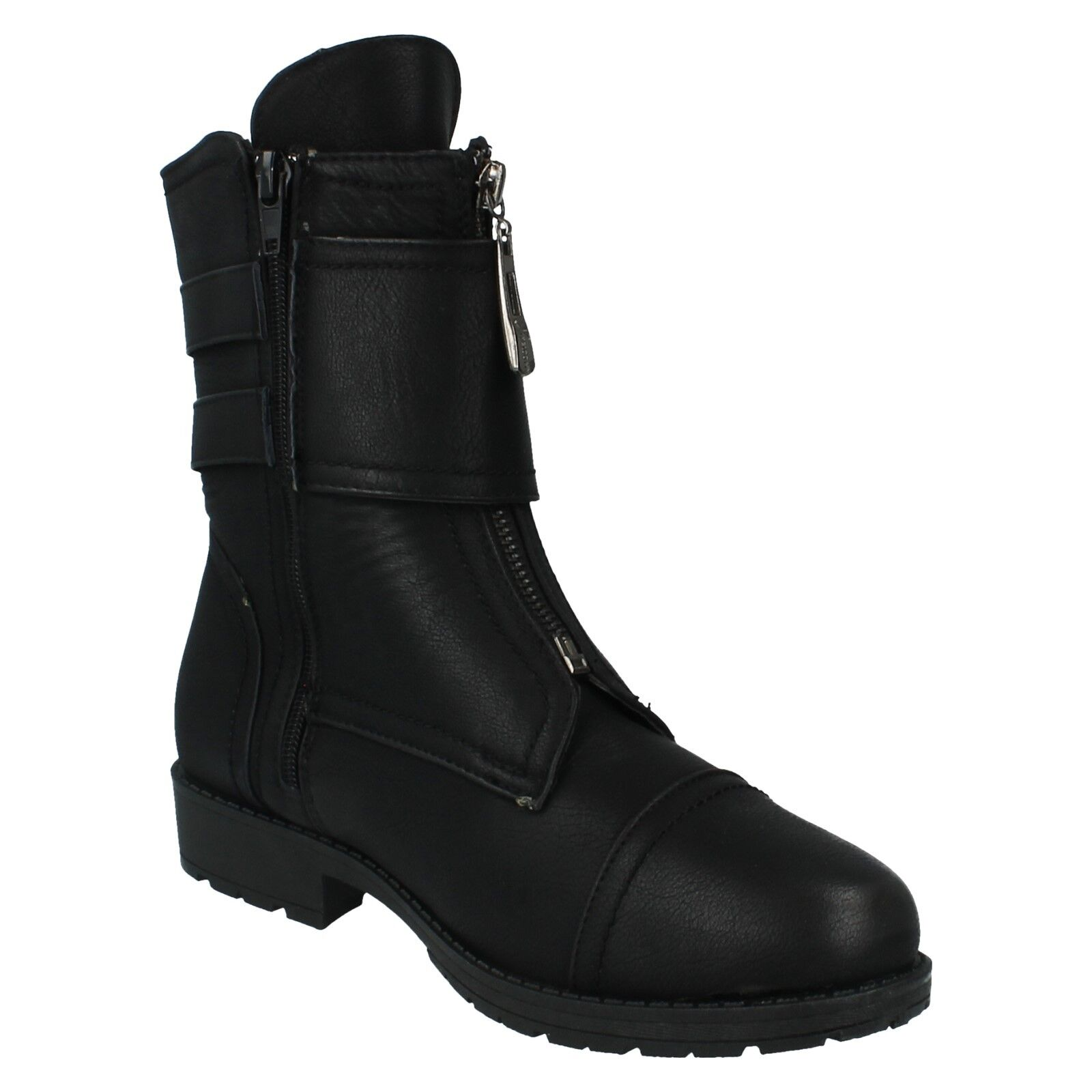 LADIES SPOT ON ZIP UP BUCKLE CASUAL SMART MID CALF BOOTS SHOES F50309