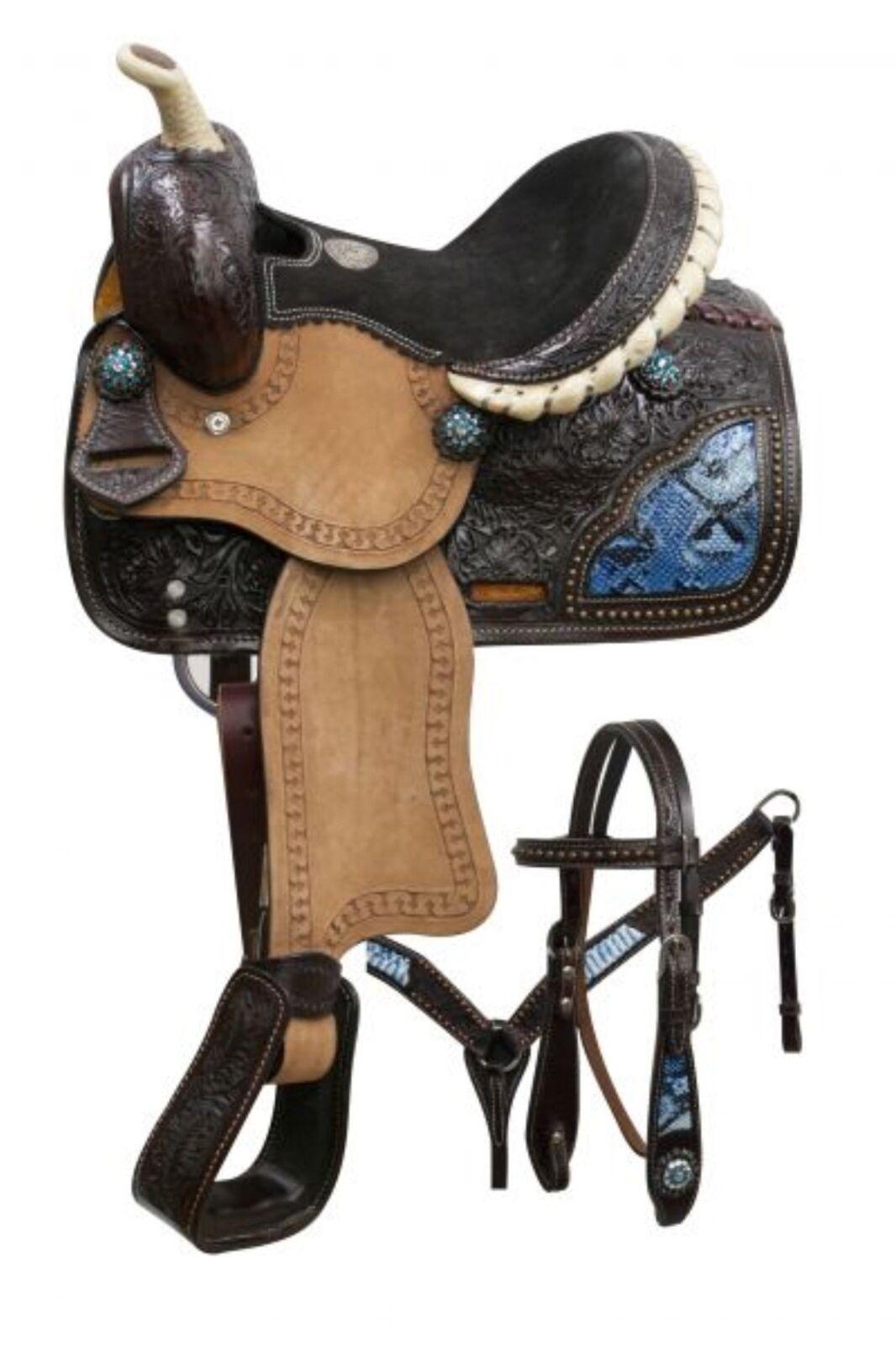 10 Double T Western Pony Saddle Set With blu Snake Print Inlay