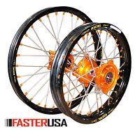 Ktm Wheels Ktm85sx 12-17 Set Excel Rims Faster Usa Hubs 17/14 Orange Nipples