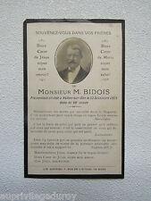 IMAGE d' AVIS MORTUAIRE : M. BIDOIS, 1923, VALLON sur GEE