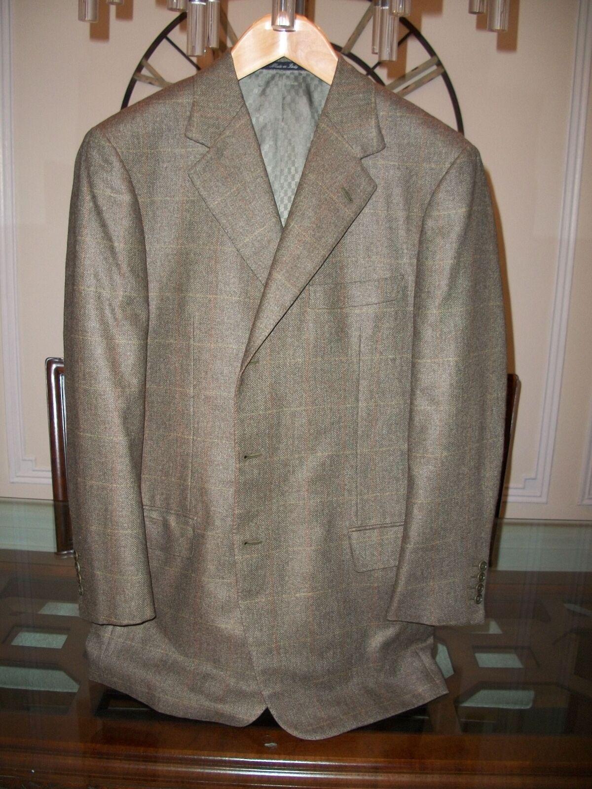 Used BATTISTONI olive plaid wool   silk blend blazer US 44R  ,995