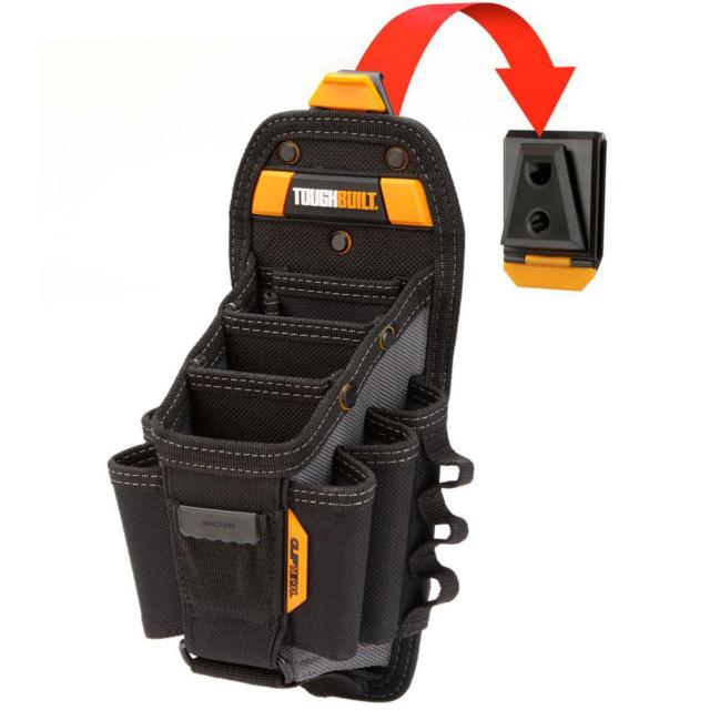 TOUGHBUILT Technician Large 10-Pocket Pouch Carry Tools with Belt Clip Black New