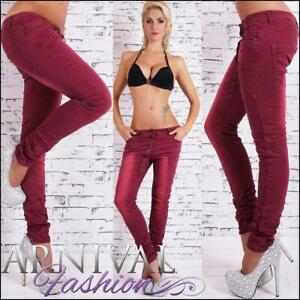 SEXY-SKINNY-STRETCH-JEANS-10-12-14-WOMENS-red-DENIM-HOT-PANTS-LADIES-TROUSERS-AU