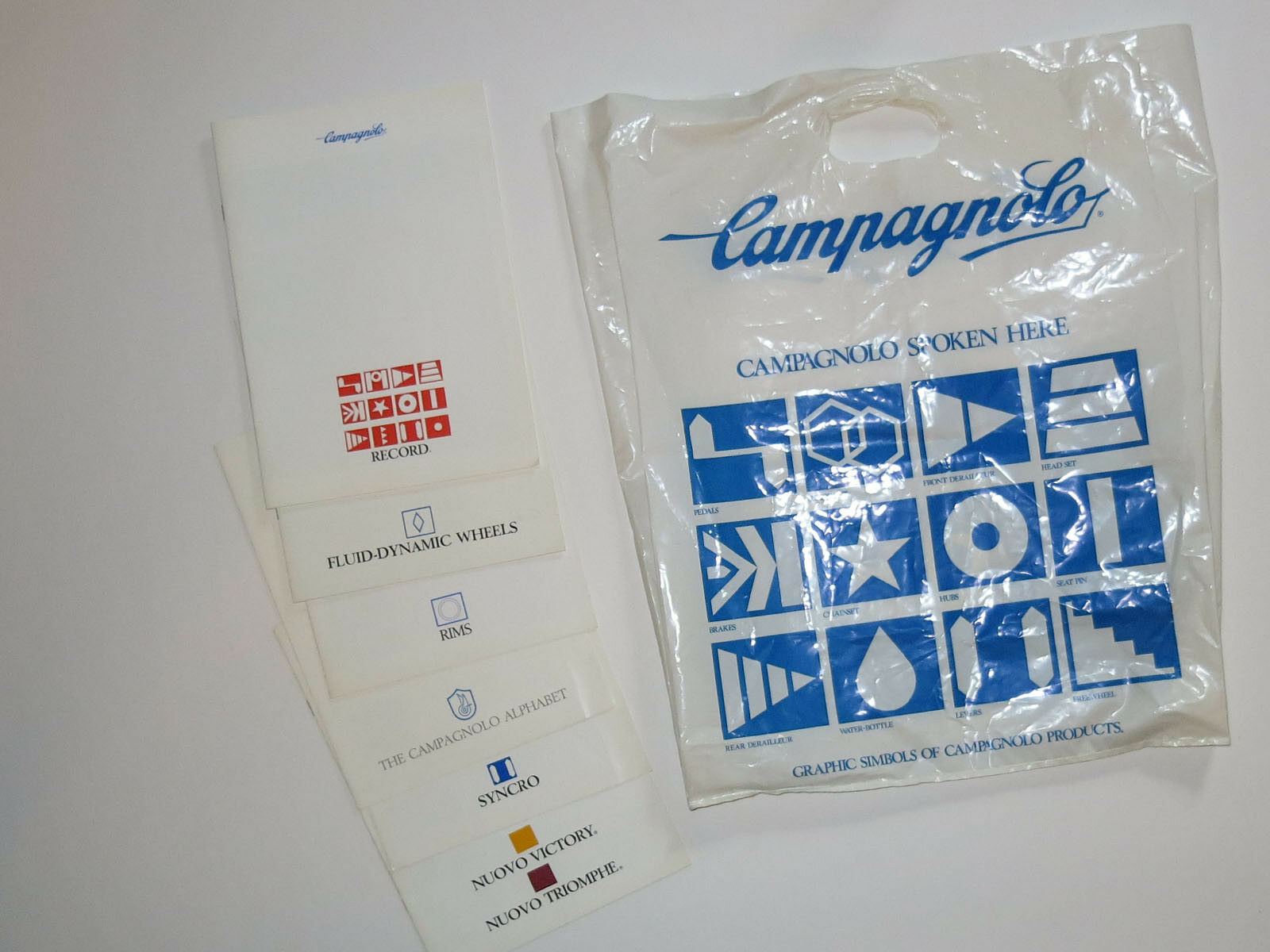 Campagnolo Record Era Trade Show Swag Bag with 6 Campagnolo catalogs