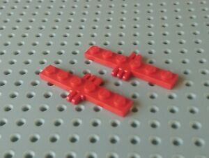 Lot of 2 Lego RED HINGE PLATE 1 x 2 with 3 Fingers On Sides