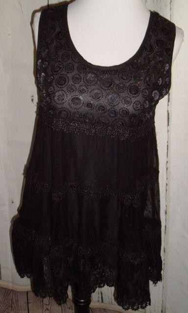 NEW John Fashion Black Lace Embellished Goth Blouse Boho Shirt Top Holiday XL