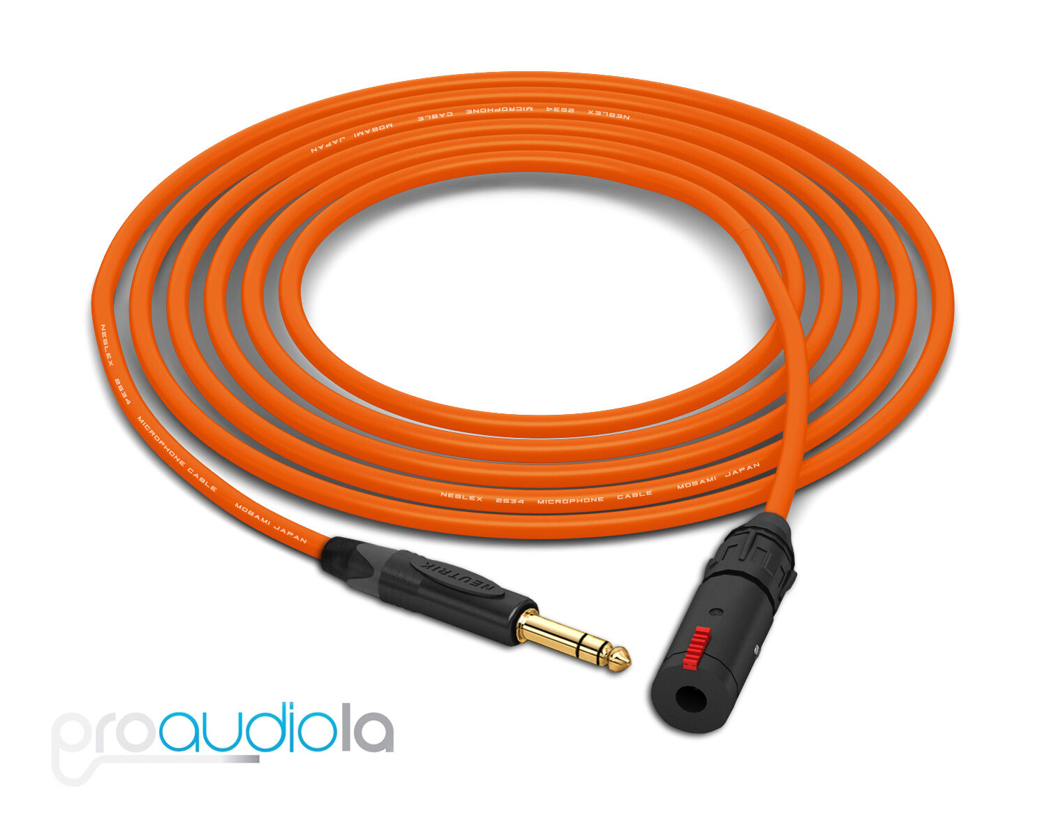 Mogami 2534 Headphone Extension   Neutrik Gold TRS to TRS Female   Orange 25 Ft.