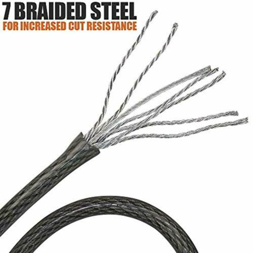 BV 30FT Security Steel Cable with Loops Flex Cable Lock Cable 3//8 In for U-Lock
