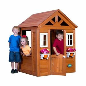 backyard discovery 65314 timberlake outdoor wooden playhouse brown rh ebay com backyard discovery playhouse instructions backyard discovery playhouse replacement parts