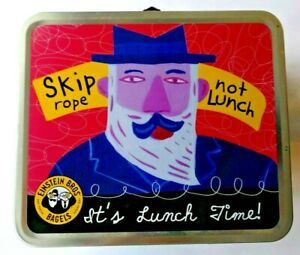 Einstein-Bros-Bagels-It-039-s-Time-For-Lunch-Metal-Lunch-Box-Artwork-and-Phrases