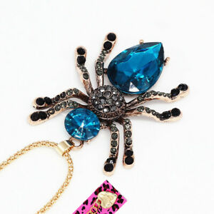 Betsey-Johnson-Women-039-s-Crystal-Rhinestone-Spider-Pendant-Chain-Necklace-Gift