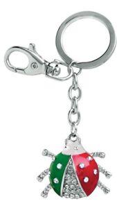 Portachiavi-COCCINELLA-ITALIA-con-STRASS-con-piastrina-acciaio-personalizzata