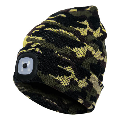LED BEANIE HAT WITH BATTERY UNISEX HIGH POWERED HEAD LAMP LIGHT KNITTED HAT SUPE