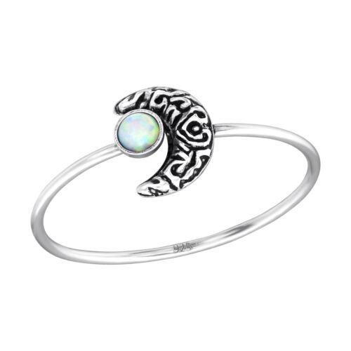 Luna Luna Blanca Piedra Anillo de plata esterlina
