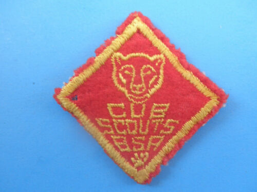 Vintage 1950's Cub Scout BSA Bear Gold On Red