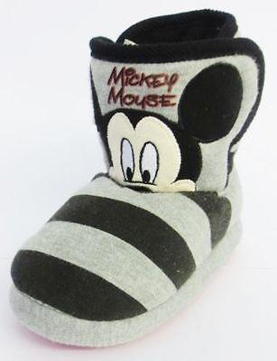 Disneys Para Niños Unisex Mickey Mouse Negro Y Gris Slipper Botas!