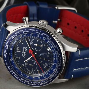 DETOMASO-FIRENZE-Mens-Watch-Chronograph-Blue-Stainless-Steel-Leather-Strap-New