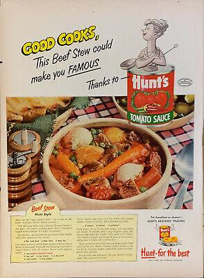 Vintage 1952 Hunt S Can Tomato Sauce W Beef Stew Recipe Print Ad Advertisement Ebay