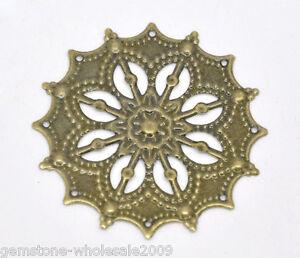 Wholesale Lots Bronze Tone Filigree Flower Wraps Connectors 43mm