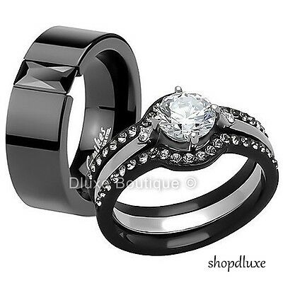 HIS & HERS 4 PIECE BLACK STAINLESS STEEL WEDDING ENGAGEMENT RING BAND SET
