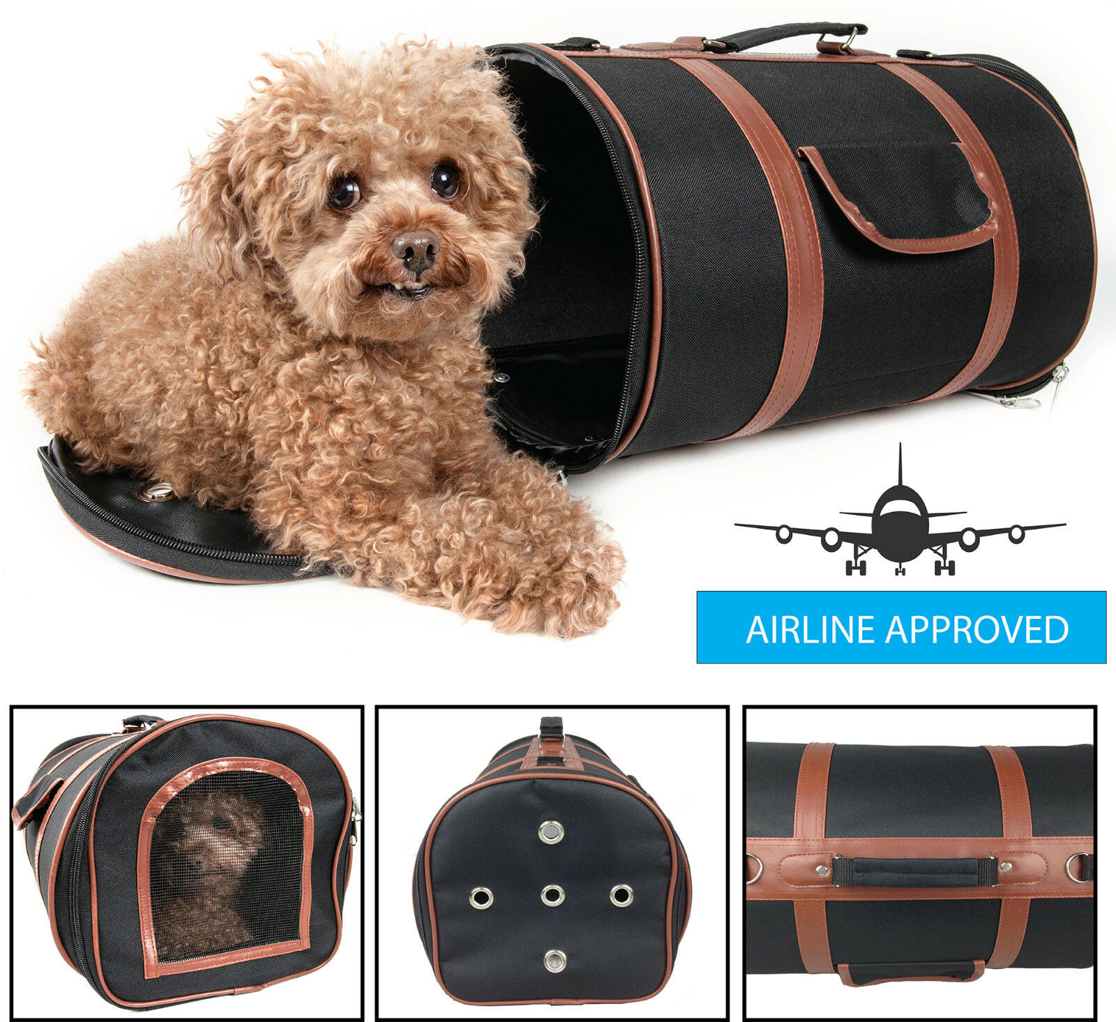Airline Approved Fashion Cylinder Posh Designer Travel Pet Dog Carrier bag