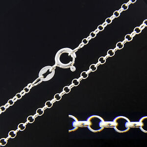 Solid 925 Sterling Silver 2mm Rolo Belcher Chain Necklace (18 Inches) iQZQug2w6K