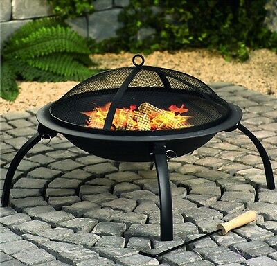 ROUND OUTDOOR FIREPIT FOLDABLE CHARCOAL FIRE PIT CAMPING GARDEN PATIO SUMMER 333