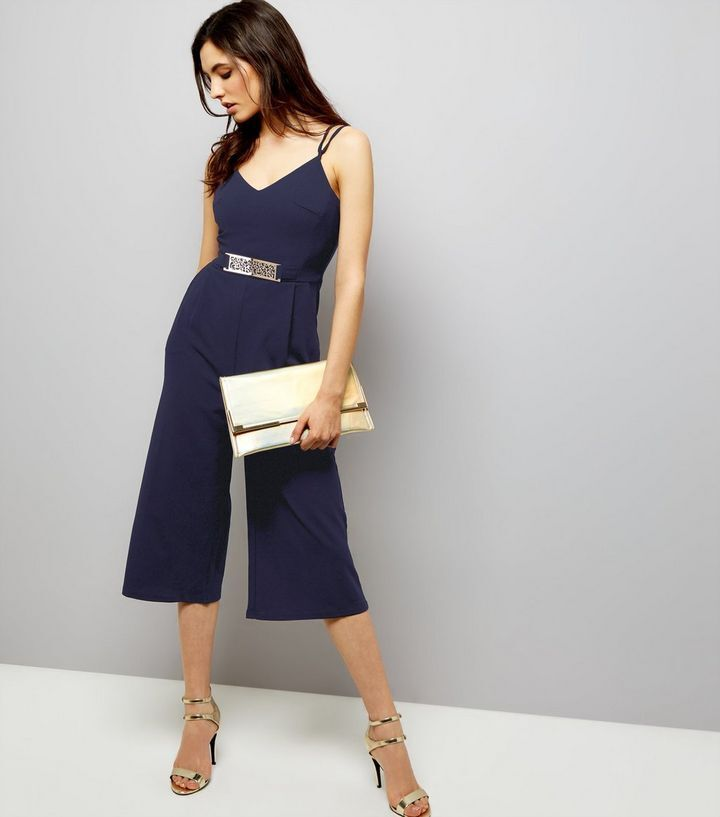 New Mela Navy Belted Culottes Jumpsuit Sz