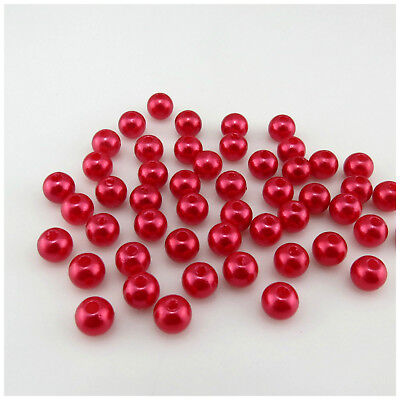 150PCS x 6MM OR 100PCS X 8MM BABY PINK ROUND ACRYLIC BEADS FOR JEWELLERY MAKING