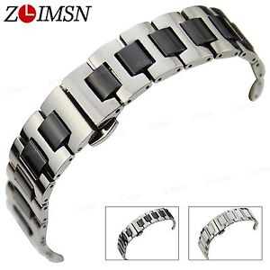 16mm-20mm-Stainless-Steel-White-Black-Ceramic-Watch-Band-Strap-Silver-Bracelet