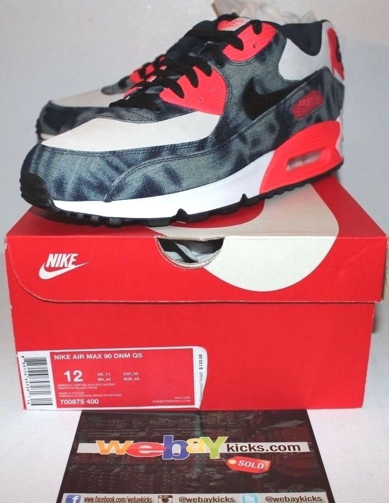 Nike Air Max 90 Denim QS Blue Infrared White Black Sneakers Men's Size 12 New