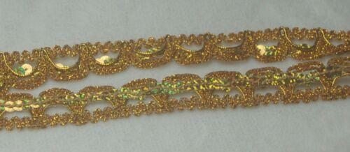 1-3 Meter Spitze Spitzenband Pailletten Metallspitze gold silber
