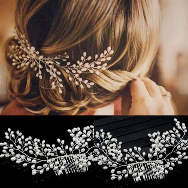 Luxury Vintage Bride Hair Accessories Handmade Pearl Wedding Jewelry Comb Tb