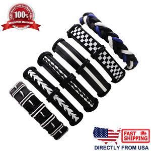 6pcs-Set-Black-White-Braided-Leather-Men-Women-Hippie-Cuff-Wristband-Bracelet