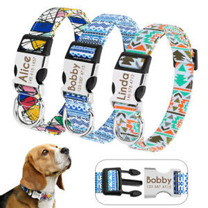 Nylon-Dog-Collar-Personalised-Metal-Buckle-Customized-Engraved-Pet-ID-Name-S-M-L