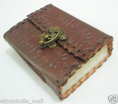 Handmade Leather Bound Mini Embossed Journal Pocket Diary Blank Writing Notebook
