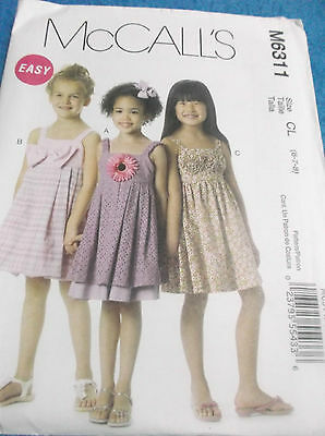 EASY SEWING PATTERN M6311 GIRLS LINED DRESSES SIZE 6 TO 8 UNCUT