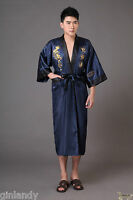 Double-face Embroidery Dragon Men's Kimono Robe Gowns Bathrobe Dress Sleepwear