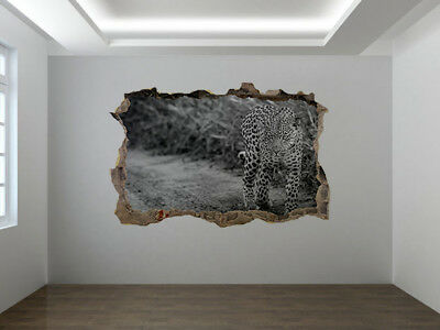 Leopard walking photo Hole in wall sticker wall mural 76263123 Animal