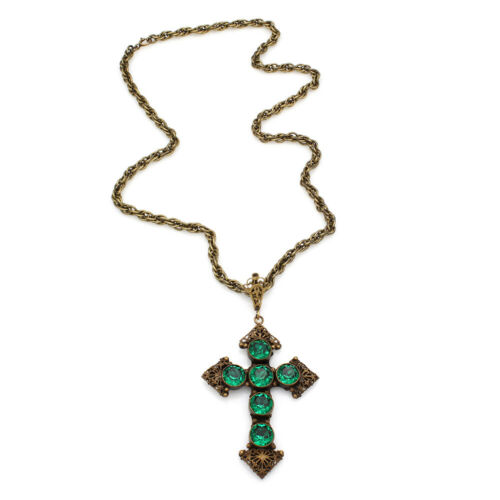 Vintage Joseff of Hollywood Cross Necklace with Gr