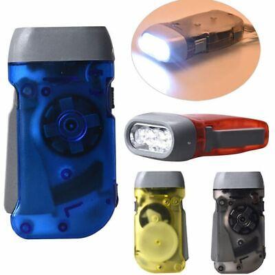Blue Powered Dynamo Manual Crank Hiking Flashlight LED Torch Hand Pressing