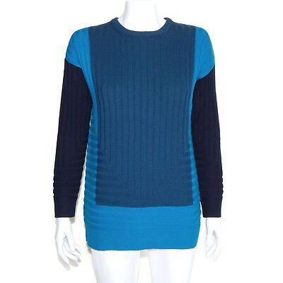 VINCE Beautiful Tri Color Blue Contrast Ribbed Oversize Sweater Women's XS 6717 | eBay