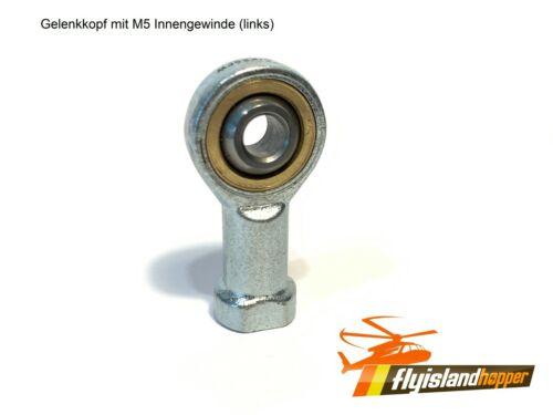 Gelenkkopf mit M5 Innen-Linksgewinde Gelenkauge Uniballgelenk GIKL5-PW LH