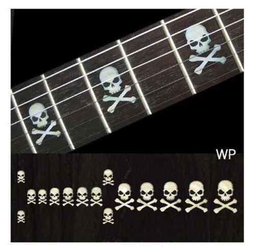 F-068SC-WT Inlay Stickers Sideways Skull w//Crossbones Fret Markers