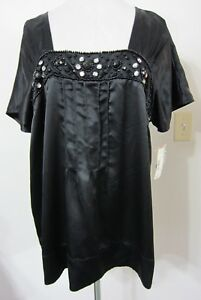 Worthington-XL-TOP-Black-SILKY-BEADED-Tunic-Square-Neck-Casual-to-Dressy