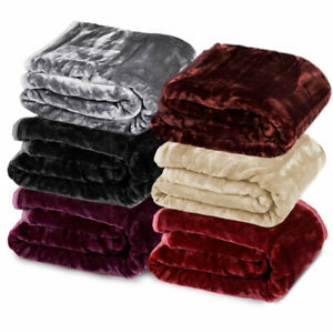 220 X 240cm Mink Blanket Double Sided Queen Soft Plush Bed Faux Throw Rug 600GSM